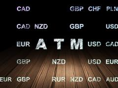 Stock Illustration of Currency concept: ATM in grunge dark room