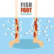 Treatment foot fish. Medical procedure for treatment of psoriasis and skin di - stock illustration