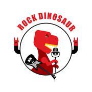 Rock dinosaur emblem for old rock musicians. Tyrannosaurus is singing song in - stock illustration