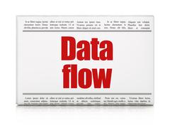 Data concept: newspaper headline Data Flow - stock illustration
