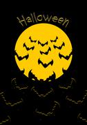 Halloween. Bats and moon. Bunch of scary animals flies from yellow planet. Te Piirros