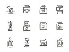 Charity elements black line vector icons set - stock illustration