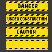 Stock Illustration of Yellow security warning tapes set Caution