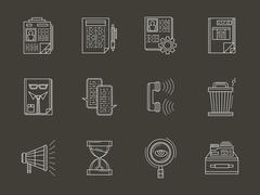 Personnel search white flat line vector icons set Stock Illustration