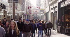 Amsterdam busy shopping street Netherlands Stock Footage