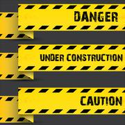 Yellow security warning tapes set Caution Piirros