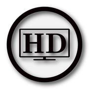 HD TV icon. Internet button on white background.. - stock illustration