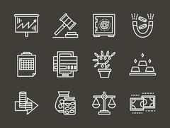 Finance strategy white simple line vector icons Stock Illustration