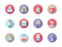 Fundraiser flat color vector icons set - stock illustration