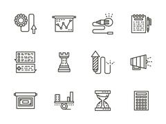 Business tactic black line icons vector collection - stock illustration