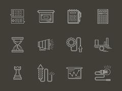 Business white line vector icons - stock illustration