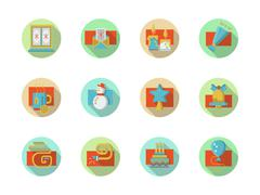 Winter holidays colored round vector icons set - stock illustration