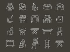 White line style furniture vector icons set - stock illustration