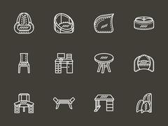 Room furniture white simple line vector icons - stock illustration