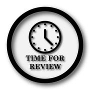 Time for review icon. Internet button on white background.. - stock illustration