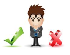 man character with checklist and cross sign - stock illustration