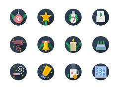 Flat round colored vector icons for winter - stock illustration