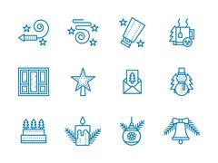 Blue line vector icons for Christmas - stock illustration