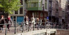 Amsterdam bridge over canal Jordaan Stock Footage