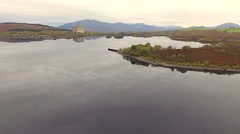 Aerial Lake view in Snowdonia Wales Stock Footage