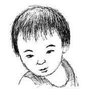 Child portrait, Hand drawn - stock illustration