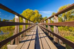 wide angle wooden bridge - stock photo
