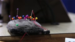 Several color needles to sew Stock Footage