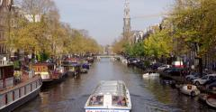 Amsterdam tourism sightseeing boat Stock Footage