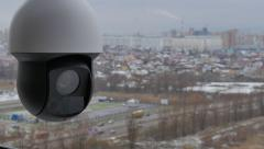 Controlled speed dome PTZ high-speed camera in operation on the street - stock footage