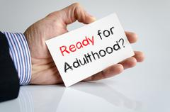 Ready for adulthood text concept Stock Photos