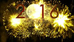 fireworks explosion countdown to 2016 YELLOW - stock footage