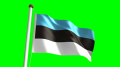Estonian flag (with green screen) Stock Footage