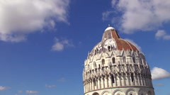 Top of Pisa baptistery under a cloudy sky. - stock footage
