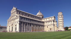 Piazza dei miracoli, in Tuscany, with Pisa tower and the cathedral. Stock Footage