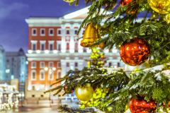 Christmas tree and architecture of Moscow Stock Photos