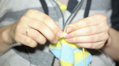 Knitting / hands close-up Stock Footage
