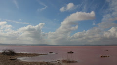 Natural salt lake. Saline, salt production, Timelapse Stock Footage