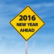 Road sign with a text of 2016 new year ahead Stock Illustration