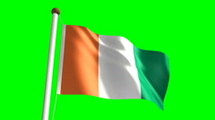 Ivory Coast flag  (with green screen) Stock Footage