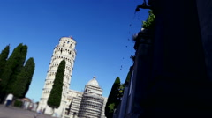 Pisa tower and cypress in Piazza dei miracoli. Stock Footage