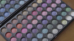 4K S-log 2 brush takes pinks and blues from multicoloured eyeshadow pallet - stock footage