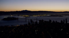 Aerial sunrise view Bay Bridge city Skyscrapers San Francisco USA Stock Footage
