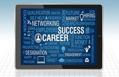 Career and Job Success Concept in tablet PC - stock illustration
