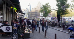 Amsterdam evening shot nightlife area Stock Footage