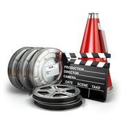 Video, movie, cinema vintage production concept. Reels, clapperboard and mega Stock Illustration