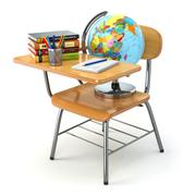 Wooden school desk and chair with books, pencils and globe isolated on white. Piirros