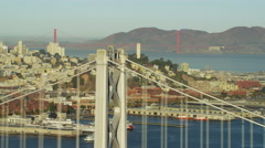 Aerial view San Francisco USA Oakland Bay Bridge Golden Gate Stock Footage