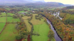 Aerial view of valley in Snowdonia Wales Stock Footage