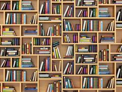 Education concept. Books and textbooks on the bookshelf. - stock illustration