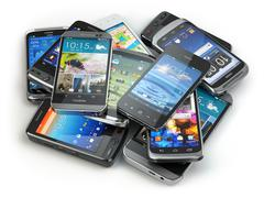 Choose mobile phone. Heap of the different smartphones. - stock illustration